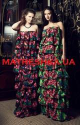Платье ярусное из платка в стиле Лурдес,  Матрешка