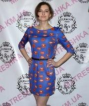 Платье с принтом «Губы» как на Яне Саратовцевой из Шоу «Холостяк-2»