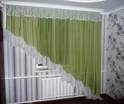 Тюль вуаль зеленая.